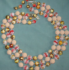 Fs Vtg Red & Peach Soft Plastic Flower & Sugar Bead 3 Strand Necklace 1950s Cool