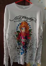 Ed Hardy Christian Audigier Men's long sleeved white shirt Love Kills Slowly Leg