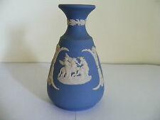 """Wedgwood   Blue  Jasper Classical  Decorated  Small  Vase  Height  4.3/4"""" Inches"""