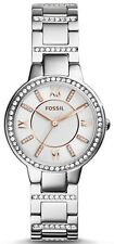 NEW Women's FOSSIL Watch Crystal RHINESTONE Stainless Steel Silver ES3741