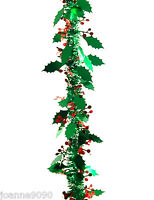 LONG 2m GREEN HOLLY LEAVES AND RED BERRIES TINSEL XMAS CHRISTMAS TREE DECORATION