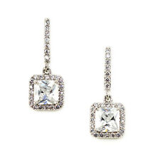 Kristin Perry Crystal Cz Art Deco Inspired Pave' Drop Bridal Chandelier Earrings