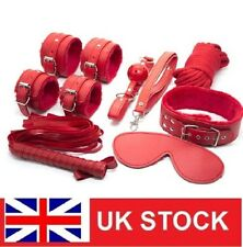 Sex Toy Bondage Set Adult Kit Handcuffs Legcuffs Ball Ropes Blindfold Red