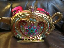 OILILY Gold Tea Pot Geanie Bottle Purse Bag Mirror Gems RARE VHTF Collectors GUC