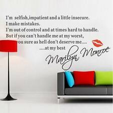 Newest Diy Marilyn Monroe Quote Removable Vinyl Decal Home Decor Wall Stickers