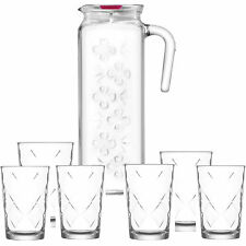 Set of 6 Clear Drinking Glasses and 1 Water / Juice Glass Jug High Quality