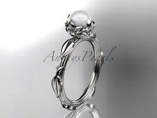 14k white gold diamond pearl vine and leaf engagement ring AP290