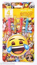 Pack 4 Emoji Glitter Gel Pens Coloured Ink Smiley Face School Stationery EMGEP