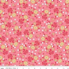 Riley Blake Lori Holt Calico Days Quilt Fabric Main Floral Flowers Pink 1/2Y