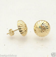 8mm Diamond Cut Umbrella Mushroom Stud Earrings Real 14K Yellow Gold