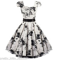 PRETTY KITTY 40s 50s WHITE FLORAL COCKTAIL ROCKABILLY TEA SWING PROM DRESS 8-26