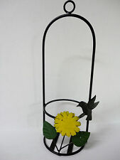 Wrought Iron & Tin Metal Sunflower Hummingbird Flower Pot / Wine Bottle Holder!
