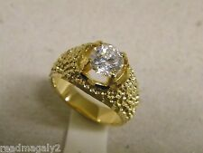 Men's Yellow Gold Plated Ring Large Clear CZ Solitaire 7mm New Size 9.5