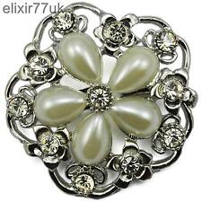 UK LARGE SILVER PLATED DIAMANTE RHINESTONE CRYSTAL FLOWER PIN BROOCH +FREE GIFT