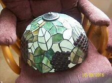 Tiffany Style Large Vintage Stained Glass Red Grape & Leaf Design