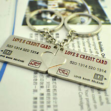 1 Pair Splicing Bank Card Couple Keychain Pendant Creative Key Ring Gifts
