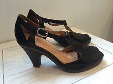 Coclico Anthropologie Black Leather T-Strap Peep Toe Heels- Size 38