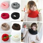 New Unisex Small Winter Knitting Wool Collar Neck Warmer Scarf Shawl 9 Colors