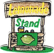 """LEMONADE STAND"" IRON ON EMBROIDERED PATCH - SUMMER TIME - DRINKS - FUN"