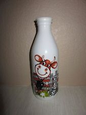 Vintage Egizia White Milk Glass Bottle WITH LID Hand Painted Milk Cow Bell Fence