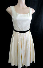 Forever New Cream Sateen Pleated Dress Size 10