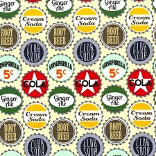 Michael Miller Retro Sodalicious Pop Bottle Tops on Ivory Cotton Fabric - FQ