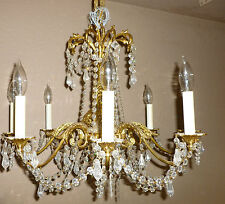 "vintage chandelier brass and crystal tassels 20"" x 20"""
