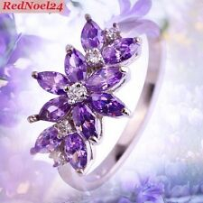 Summery Flower Style Amethyst & White Zirconia Stamp 925 Silver Ring Size 7 - N