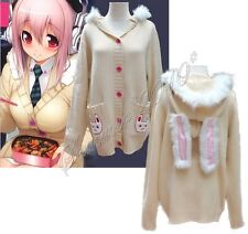 Super Sonico Cosplay Costume Halloween Rabbit Ear Sweater Hooded Cardigan Jacket