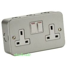 Metal Clad Double / Twin Electrical Switch Socket  13amp