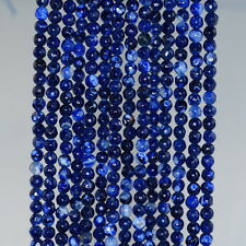 4MM  AGATE GEMSTONE DARK BLUE FACETED ROUND LOOSE BEADS 15""