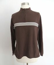 Adidas size LARGE brown with white stripes pullover sweater shirt