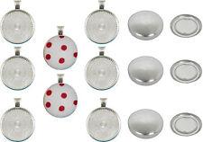 20 Pendant Button Kit 23mm Kit Make Fab BUTTON Pendants Shiny Silver & Ball chan