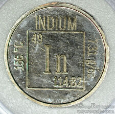 Elements Coin Series Indium 99.9% Pure 3.1g - Unusual RARE Metal! Scarce 19mm
