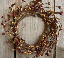 Burgundy Old Gold ~ Pip Berry Garland Candle Ring ~ rusty star ~ 4 inch center