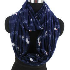 Summer Scarf Musical Note&Cat Print Infinity Scarf Snood Womens Ladies Scarf New