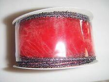 New 12 FT Gift Ribbon Red and Black 12FT L X 1 1/2 in W Christmas Holidays Gift