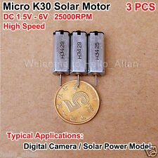 3PCS DC 1.5V-6V 25000RPM High Speed Micro Mini K30 Motor for Solar Power Model
