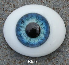 Solid Glass, Flatback Oval Paperweight Eyes - Blue, 16mm