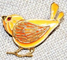 VINTAGE GORGEOUS ORANGE BIRD WITH RED RUBY COLOR CRYSTAL EYE PIN BROOCH