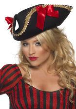 Piratenschönheit Piratenhut schwarz-rot NEU - Karneval Fasching Hut Mütze Kopfbe