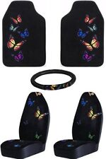 MONARCH BUTTERFLY SEAT COVERS FLOOR MATS STEERING WHEEL COVER 5-PC SET ALL NEW
