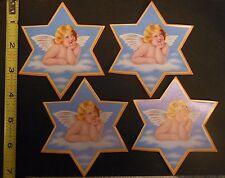 Mid Modern VTG Die Cut Star SWISS Cookie Picture Scraps Glanzbilder-Set/4 Angels