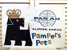 1960 Sign Vintage Pan Am Airline Dog Crate Freight Pet Carrier Scotty Dog Travel