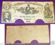 1861 $5 Confederate States of America (T-37) Sailor seated leaning on cotton