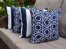 Navy Outdoor Pillow, Navy and White Geometric Outdoor Throw Pillows - Set of 4