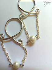 2 x Chain and Pearl Nipple Ring Clip on Body Jewelry No Piercing Adjust HandMade