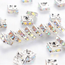 10 Quality Silver Plated Clear AB Crystal Beads, Square Rhinestone Spacer Beads