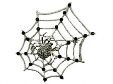 Black Crystal Spider On Web Pin Brooch For Halloween C17