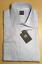 $135 NWT Ike Behar New York Blue Plaid 100% Cotton Dress Shirt 15 1/2- 34/35